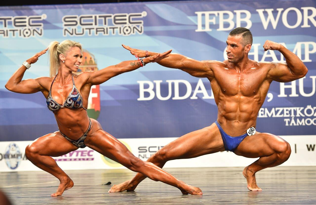 2015 IFBB World Championships mixed pairs category winners: Eva RUSAN – Sandi IMEROVIC (Croatia).