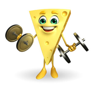 Cartoon Character of Cheese with dumbells